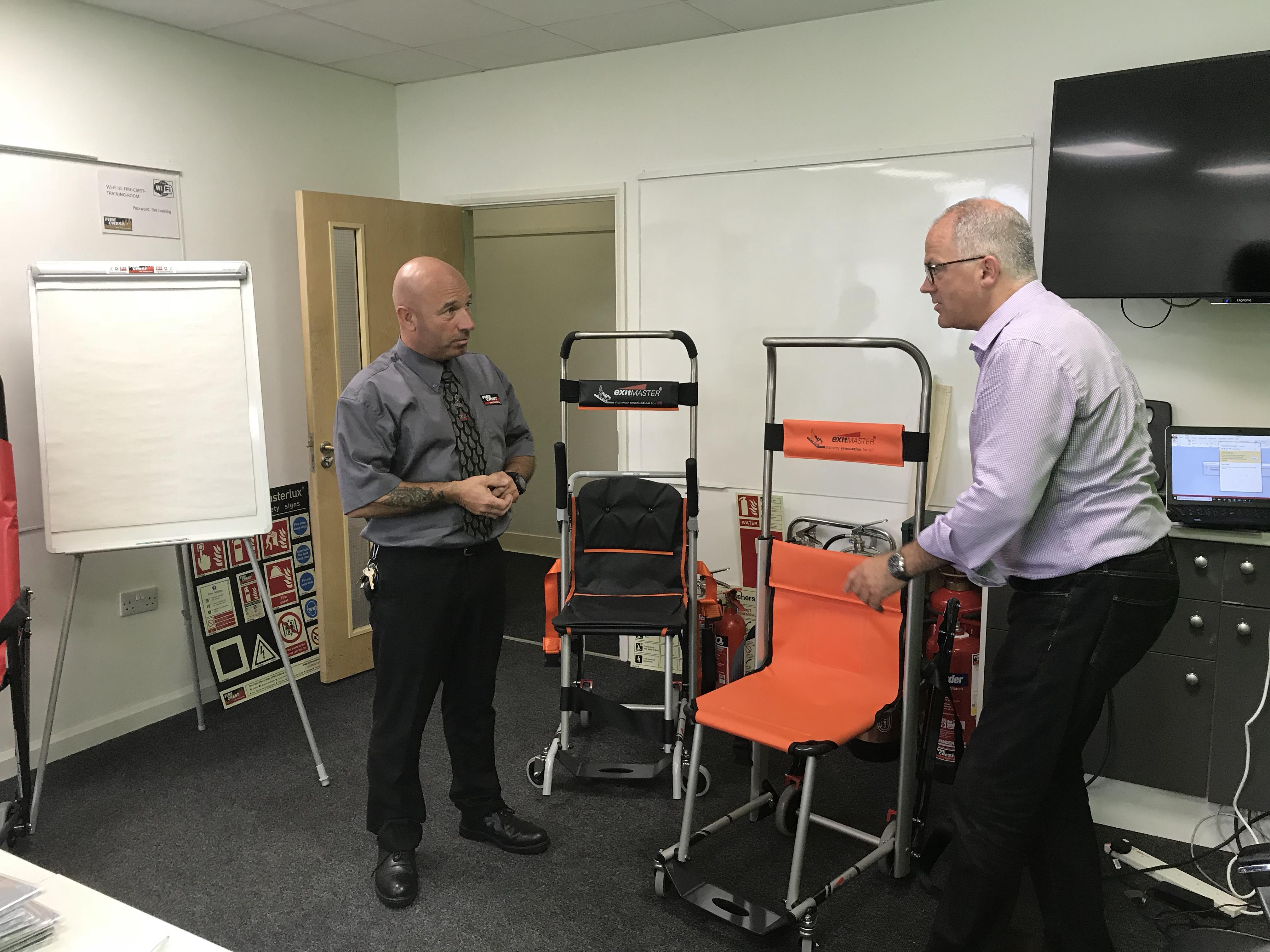 Evacuation chair servicing